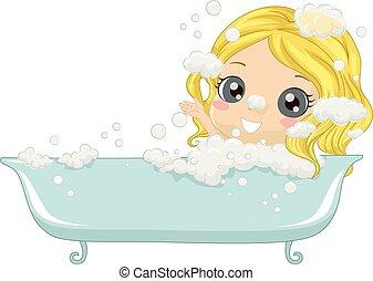 ragazza, vasca bagno, capretto