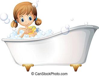 ragazza, vasca bagno