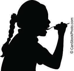 ragazza, vect, mangiare, affamato, silhouette