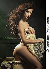 ragazza, vendemmia, posing., poltrona, bello, pelliccia, sexy