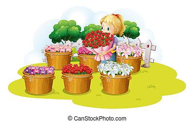 ragazza, vendita, fiore
