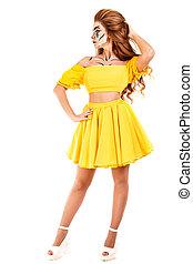 ragazza, vestire, giovane, giallo