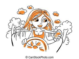 ragazza, vettore, automobile., cartone animato, illustrazione