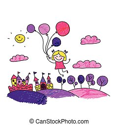 ragazza, vettore, palloni, illustrazione, felice