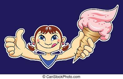 ragazza, vettore, presa a terra, gelato