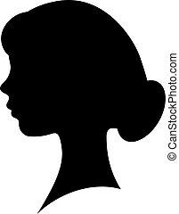 ragazza, vettore, silhouette, faccia