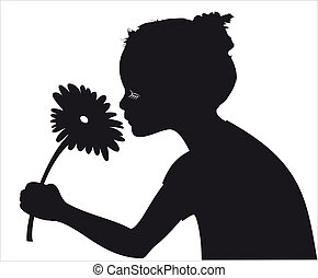 ragazza, vettore, silhouette, fiore, odorando