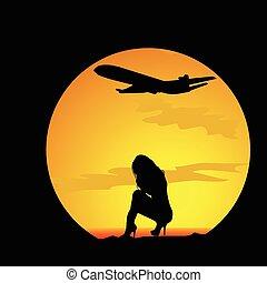 ragazza, vettore, silhouette, natura