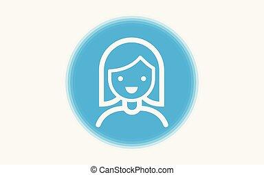 ragazza, vettore, simbolo, icona, segno