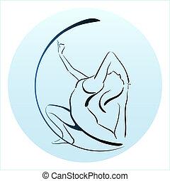 ragazza, yoga, contorno, illustrazione, esercizio