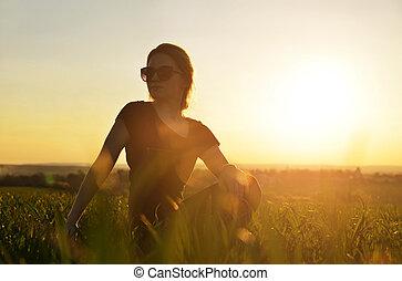 ragazza, yoga, sunset.