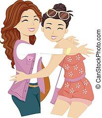 ragazze adolescente, amici, grande, abbraccia