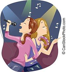 ragazze adolescente, illustrazione, bonding, amici, karaoke