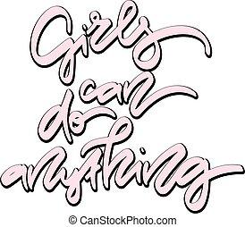 ragazze, anything., mano, lattina, disegnato, lettering.