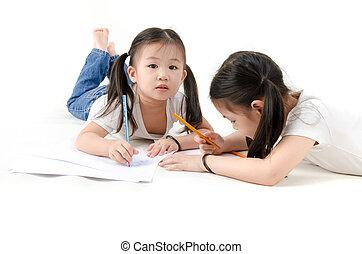 ragazze, asiatico, disegno