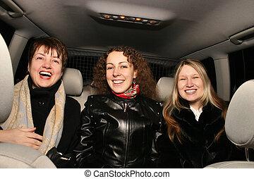 ragazze, automobile