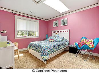 ragazze, camera letto, rosa, bello