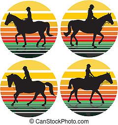 ragazze, cavallo, -, fondo