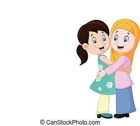 ragazze, due, abbracciare