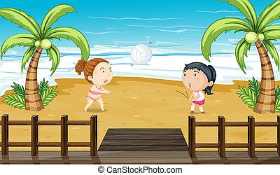 ragazze, due, pallavolo, gioco