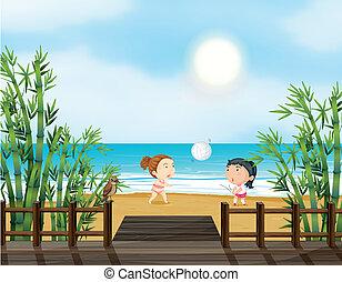 ragazze, due, pallavolo, giovane, spiaggia, gioco