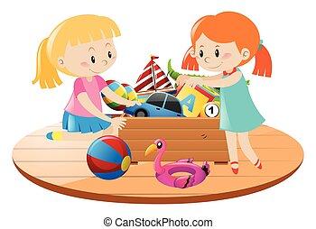 ragazze, e, scatola, pieno, di, giocattoli