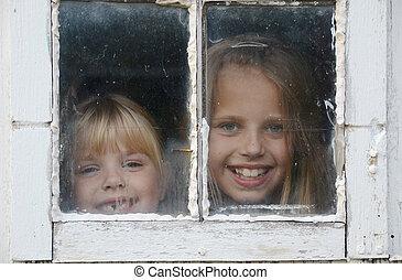 ragazze, finestra, sbirciando