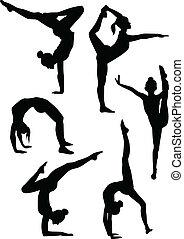 ragazze, ginnasti, silhouette