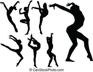 ragazze, ginnastico, silhouette
