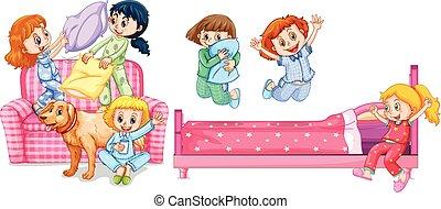 ragazze, gioco, camera letto