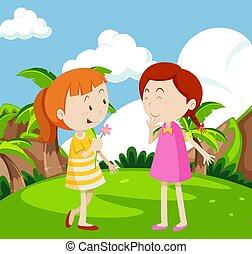 ragazze, gioco, giardino