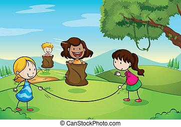 ragazze, gioco, natura