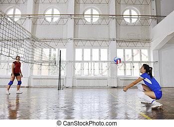 ragazze, gioco volleyball, interno, gioco