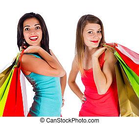 ragazze, godere, shopping, insieme