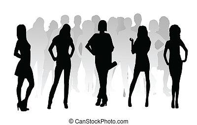 ragazze, moda, silhouette