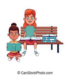 ragazze, panca, seduta, felice, icona, lettura, libri