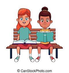 ragazze, panca, seduta, felice, lettura, libri