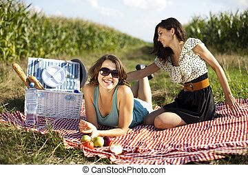 ragazze, picnic