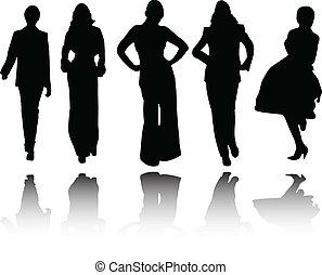 ragazze, riflessione, collezione