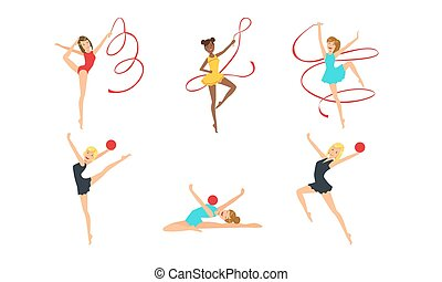 ragazze, ritmico, illustrazione, colection, nastri,...