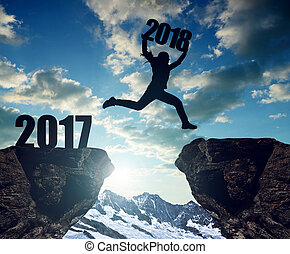 ragazze, salto, a, il, anno nuovo, 2018