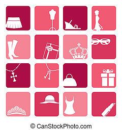 ragazze, set, moda, icone