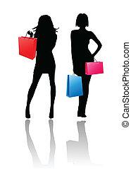 ragazze, silhouette, shopping