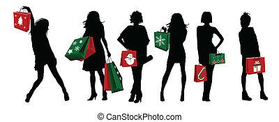 ragazze, silhouette, shopping, natale