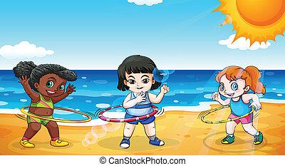 ragazze, spiaggia