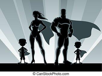 ragazzi, 2, superhero, famiglia