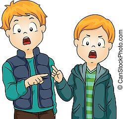 ragazzi, bambini, fratello, illustrazione, faglia
