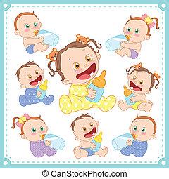 ragazzi bambino, vettore, ragazze, illustrazione