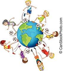 ragazzi, calcio, giocare intorno, mondo