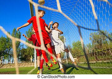 ragazzi, calcio, gioco